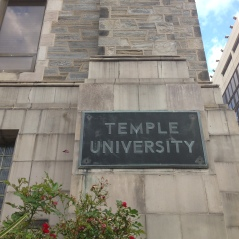 This sign introduces Temple University to Broad Street.